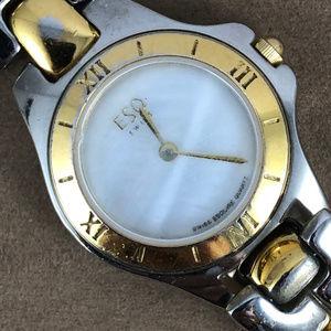 Vintage Ladies Rare ESQ Movado Swiss 2 Tone Watch